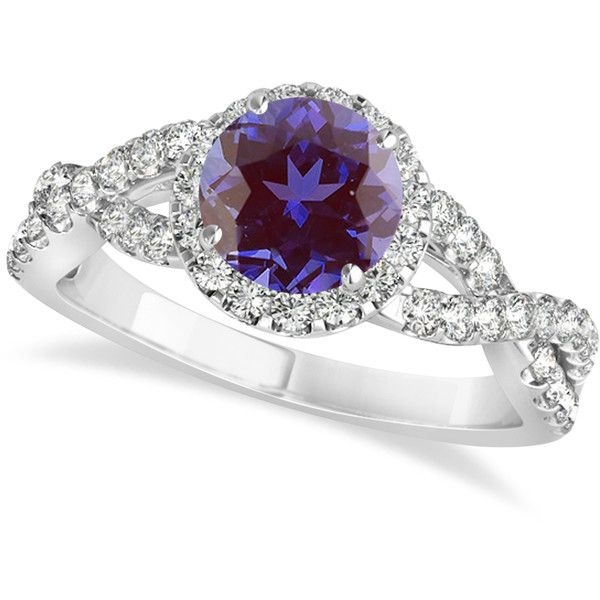 Allurez Alexandrite & Diamond Twisted Engagement Ring 14k White Gold... ($4,605) ❤ liked on Polyvore featuring jewelry, rings, white gold, twisted diamond ring, white gold diamond rings, white gold engagement rings, white gold rings and twist ring