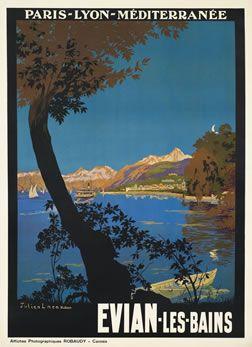Vintage Travel Poster - Evian-les-Bains - Région Rhône Alpes -Département Haute Savoie - France - by Lacaze, Julien -1925.