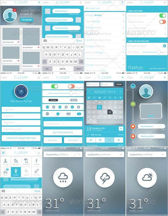app ui design FlatApp Mobile Phone App / iOS / iPhone App / Bootstrap UI FlatApp Mobile Phone App / Bootstrap UI – This app is a flat, professional, iOS 7 based iPhone app bootstrap template. The flat, clean, modern, 100% vector design can be easily customized to fit any specifications. Features Over 25 Full Screen PSDs / Designs Contains bonus UI elements like 2 different graph UIs and general UI elements PSDs well organized, with layers & groups Retina Display Ready for iPhone 5, iPhone…
