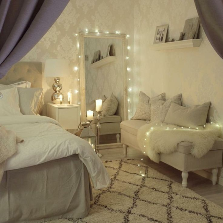 dream bedroom #cozy #fairylights | bedroom inspirations, aesthetic rooms, dream bedroom