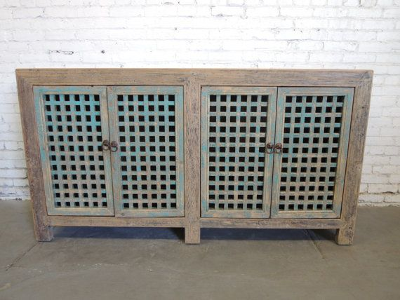 Chinese Storage Credenza In Natural Gray Finish With Turquoise Doors (Los  Angeles)
