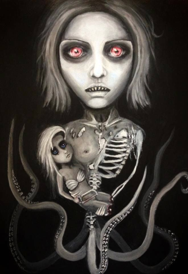 Little mermaid macabre painting gothic