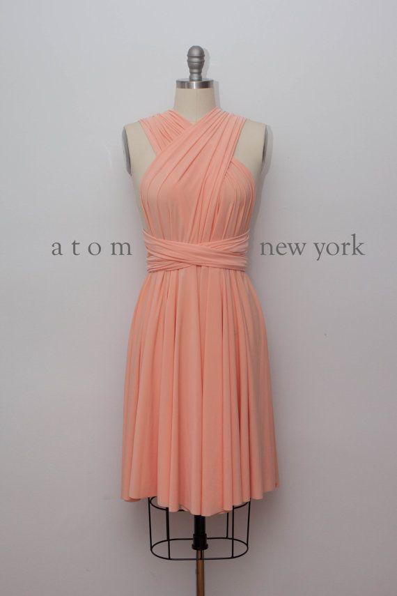 Peach SHORT Infinity Dress Convertible Formal Multiway Wrap Dress Bridesmaid Dress Party Cocktail Dress Wedding Knee Length