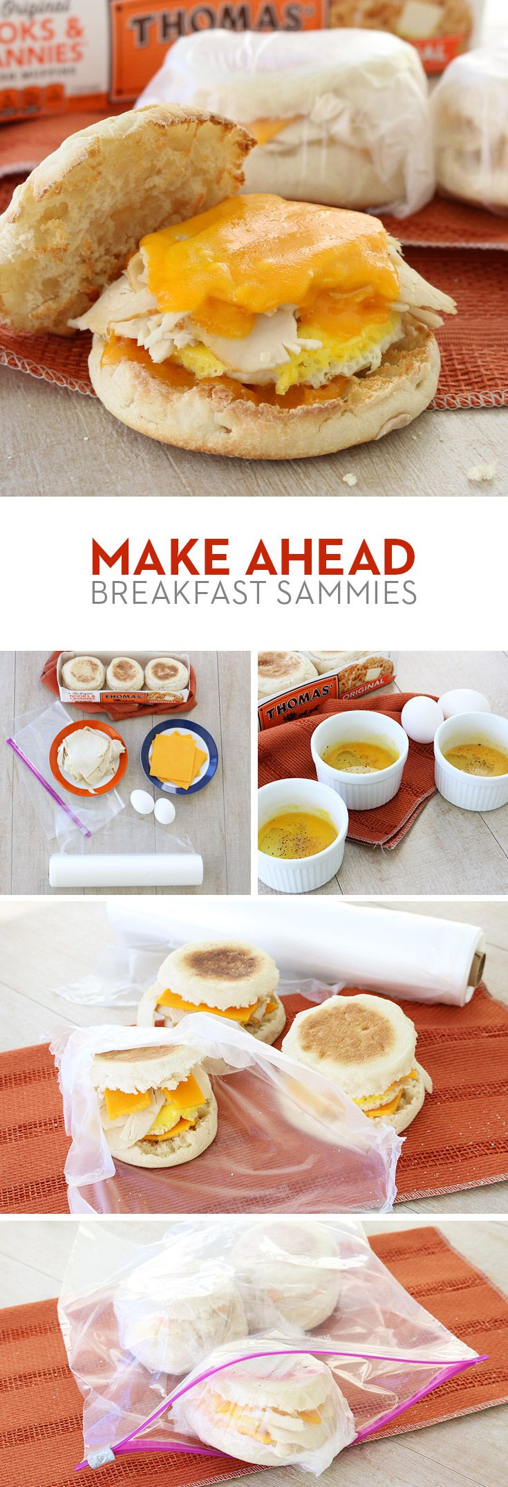 Make Ahead Breakfast Sammies: Hosting guests or just need a filling, grab 'n' go breakfast solution? These make-ahead Thomas' English Muffin sandwiches with eggs, turkey and Cheddar cheese are just the thing. Make a big batch in advance so you'll be ready whenever hunger arises.
