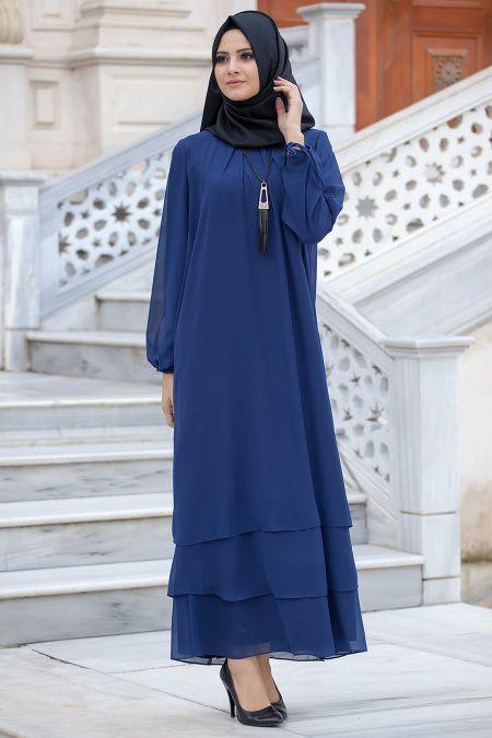 NEW KENZA - New Kenza - Kolyeli Lacivert Elbise