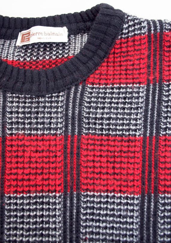 Retro Breakfast Club Jacquard Striped KNIT SWEATER by Pierre Balmain - Navy/Red/Silver - Mens Size Medium