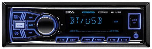 BOSS Audio 611UAB Single Din, Bluetooth, MP3/USB/SD AM/FM Car Stereo, Wireless Remote (NO CD/DVD). For product info go to:  https://www.caraccessoriesonlinemarket.com/boss-audio-611uab-single-din-bluetooth-mp3usbsd-amfm-car-stereo-wireless-remote-no-cddvd/