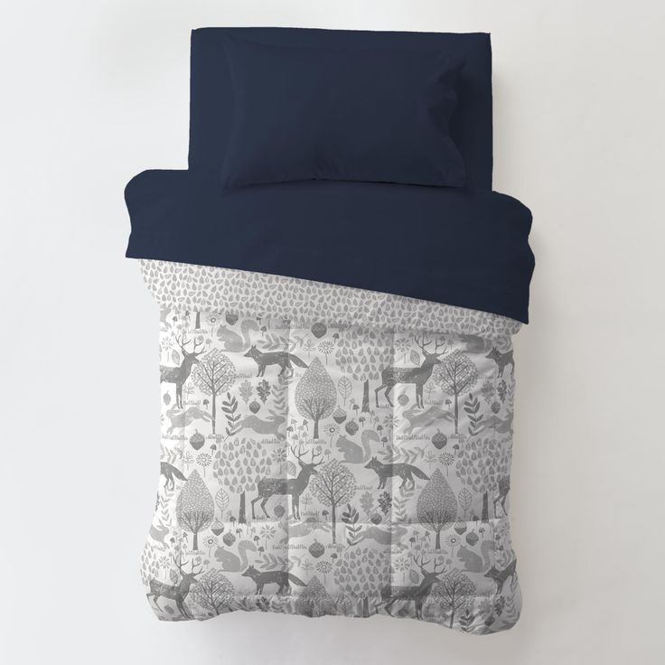 Toddler Comforter in Navy and Gray Woodland by Carousel Designs.