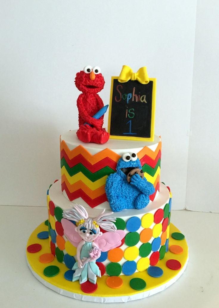 Best Sesame Street Cakes Images On Pinterest Sesame Street - Elmo and abby birthday cake