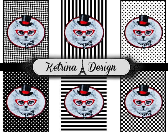Vintage Cat Lady ATC images 2.5 x 3.5 shabby chic by KetrinaDesign