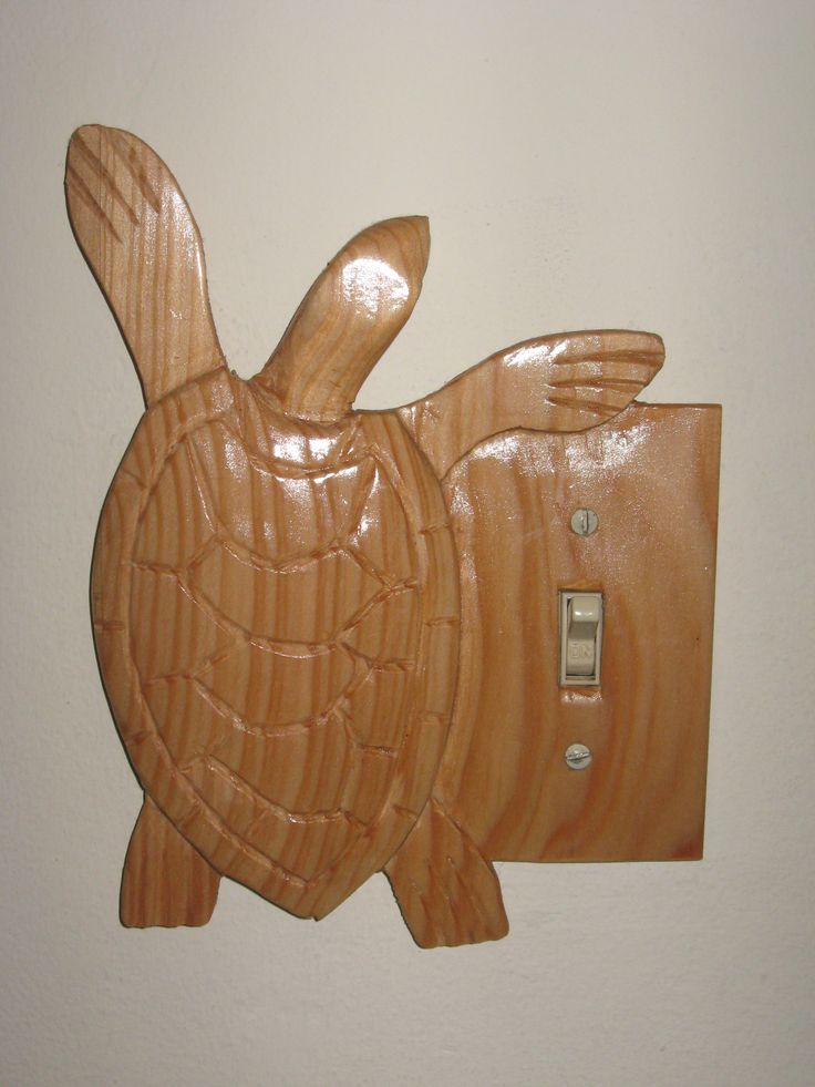 hand carved wood turtle light switch plate