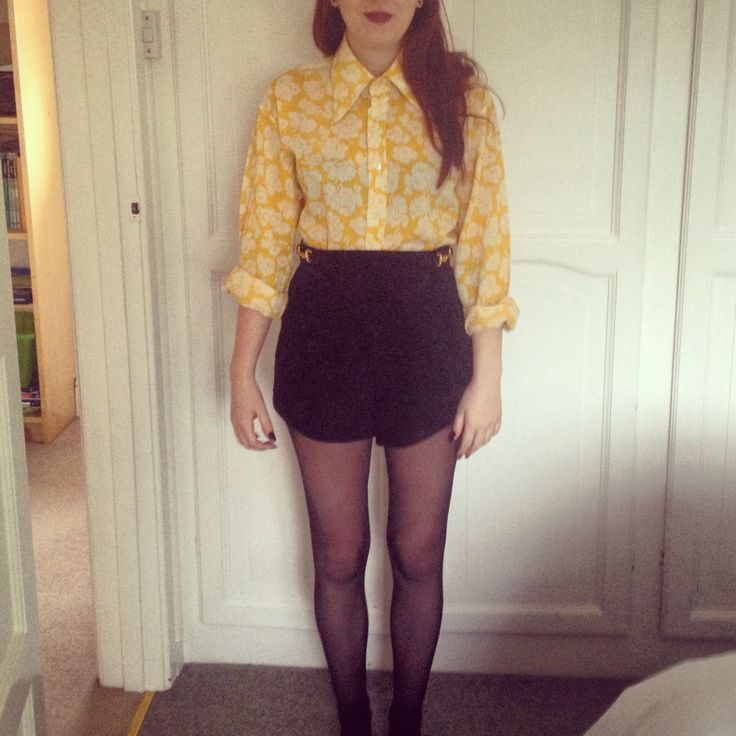 Vintage yellow shirt, Beyond Retro suede black shorts