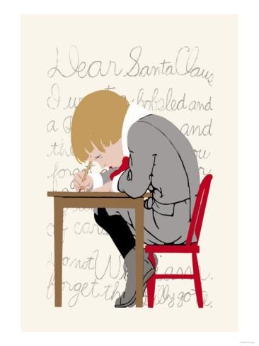 Boy Writes a Letter to Santa Premium Poster