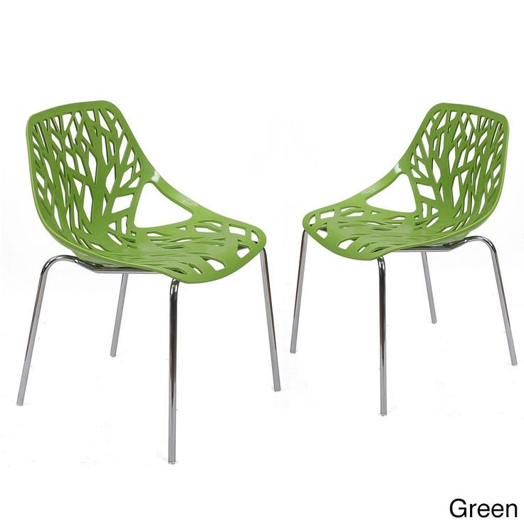 Adeco Cut-out Tree Design Plastic Dining Chairs with Chrome Legs Set of Two (green)