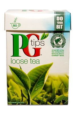 PG Tips loose tea.  Blended and packed in Manchester, England