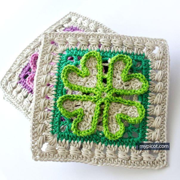 Crochet four-leaf clover motif for blanket: Diagram + step by step instructions