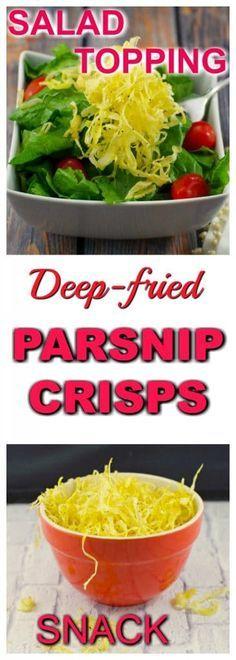 Parsnip Crisps | #parsnip #snack Deep-fried Parsnip crisps with lemon pepper and salt are a great snack or crunchy salad topper (instead of croutons).