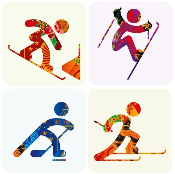 Pictogrammes qui représentent certains sports aux jeux olympiques d'hiver de 2014.
