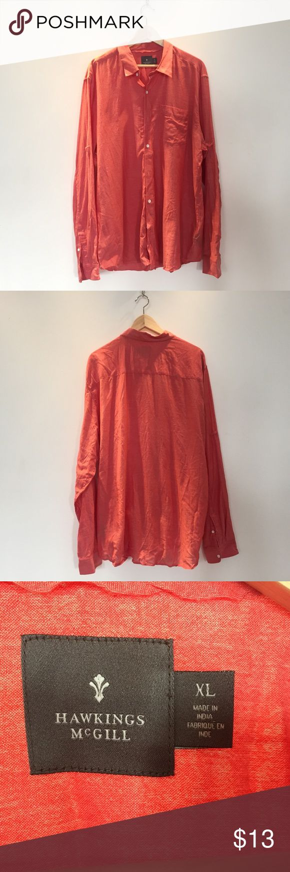 Urban Outfitter Hawkings McGill Linen Button Up Coral linen button up. Hawkins McGill. Roll up sleeves to a loop located halfway up the bicep. Urban Outfitters Shirts Casual Button Down Shirts
