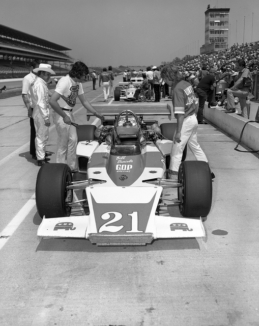 Indy 500, 1972: Cale Yarborough in the most idiotic car ever -- sponsored by the GOP in a race where you can only turn left.