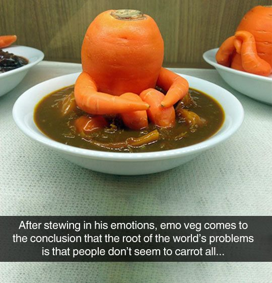 After stewing in his emotions, emo veg comes to the conclusion that the root of the world's problems is that people don't seem to carrot all...