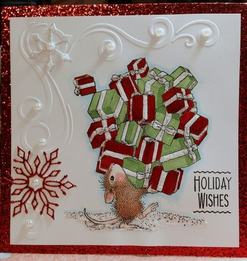 Holiday Wishes, This little mouse has Christmas wrapped up! Pretty embossing!
