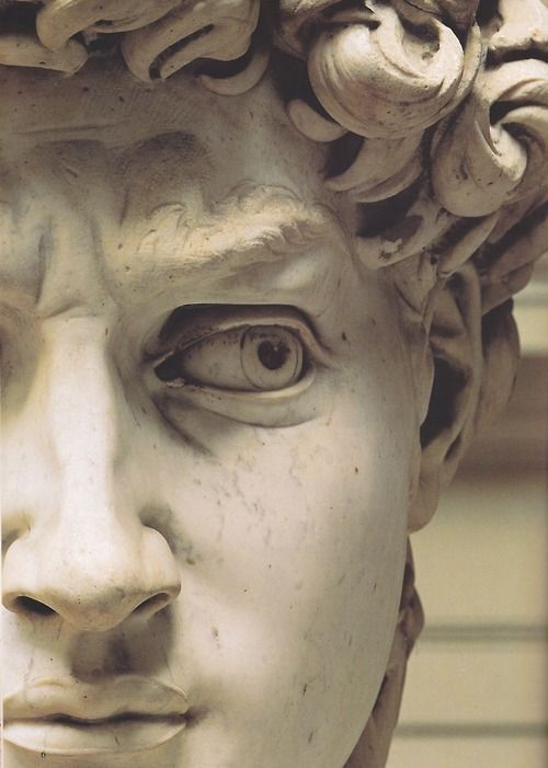 "Detail of ""David"" is a masterpiece of Renaissance sculpture created between 1501 and 1504, by the Italian artist Michelangelo. It is a 5.17-metre (17.0 ft)[1] marble statue of a standing male nude. The statue represents the Biblical hero David.  The warning glare no doubt was for the giant Goliath slew by David. The statue of David is the best known and the most reproduced work in the history of art."