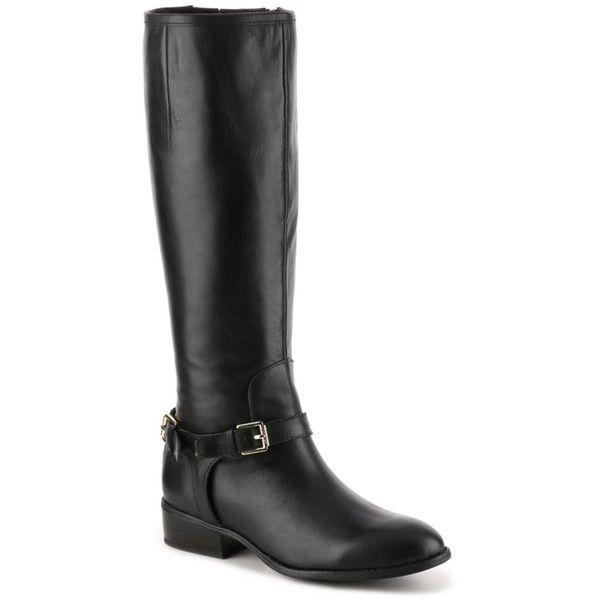 Lauren Ralph Lauren Marion Wide Calf Riding Boot | DSW ($150) ❤ liked on Polyvore featuring shoes, boots, wide calf knee high boots, equestrian boots, wide calf riding boots, wide calf boots and wide calf equestrian boots