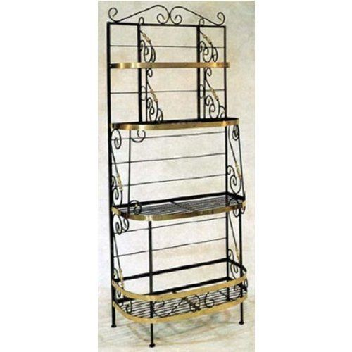 """36"""" Wrought Iron French Bakers Rack Finish: Sand, Style: With Brass Tips by Grace Collection. $900.36. 36BFB-SD Finish: Sand, Style: With Brass Tips Shown Here With Brass Trim Features: -Ships fully assembled. Color/Finish: -Painted according to your choice of metal finish. Dimensions: -Dimensions: 36'' W x 18'' D x 83'' H."""