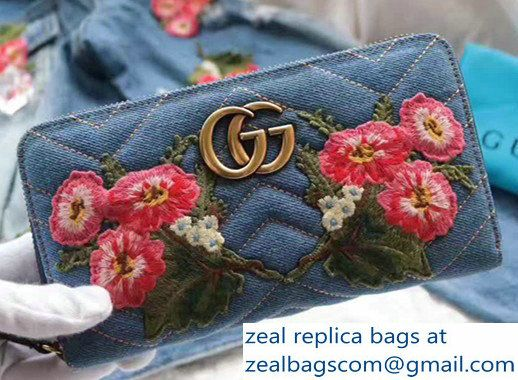 Gucci Metal Logo GG Marmont Embroidered Floral Cloth Fabric Chevron Zip Wallet 443123 Blue