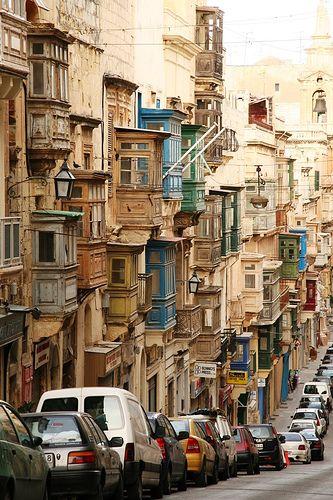 Streets of Valletta in Malta (island below Europe)