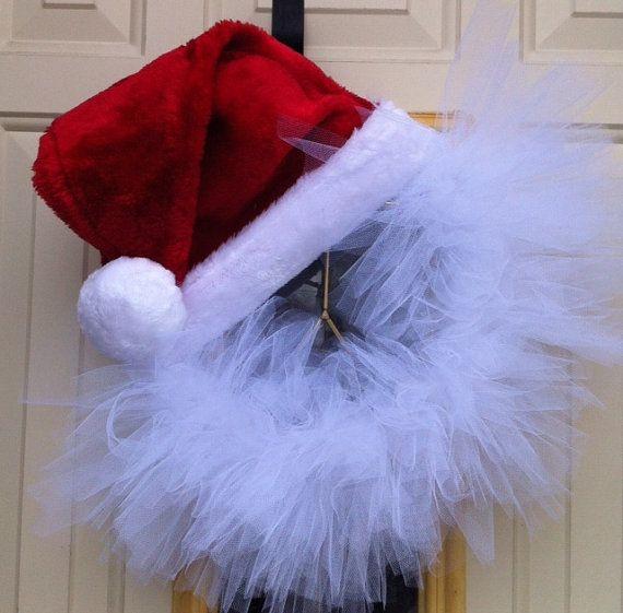 Santa Hat Tulle Wreath Christmas decoration Christmas wreath by WreathsByDesignMI