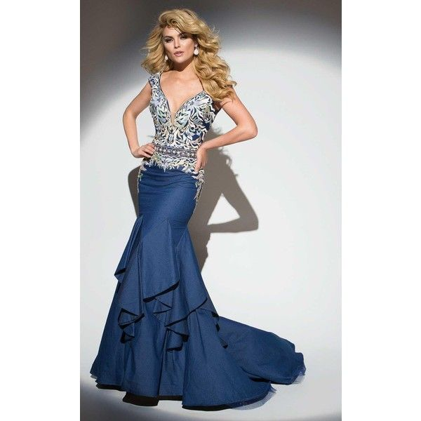 Tony Bowls TB117293 Pageant Dress Long V-Neck Sleeveless ($659) ❤ liked on Polyvore featuring dresses, gowns, blue denim, formal dresses, formal evening gowns, blue prom dresses, prom dresses, lace prom dresses and long prom dresses