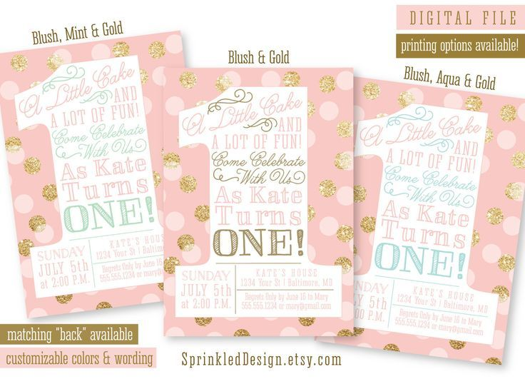 Pink And Gold Girl 1st Birthday Invitations Blush Pink