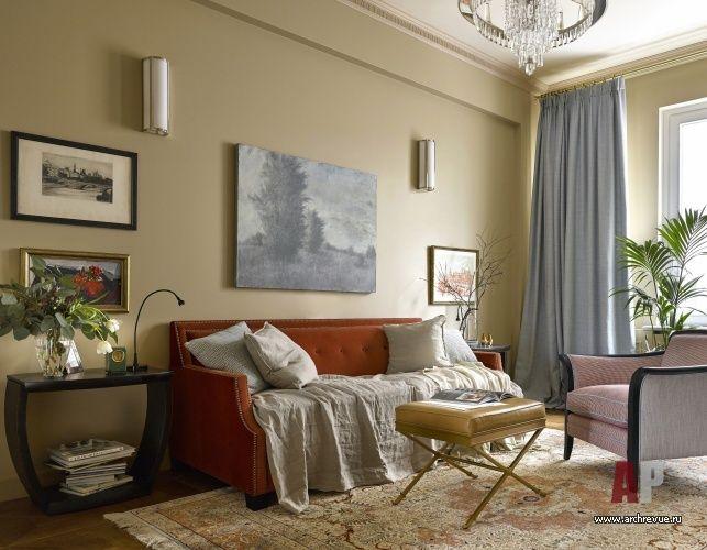 Фото интерьера зоны отдыха квартиры в американском стиле