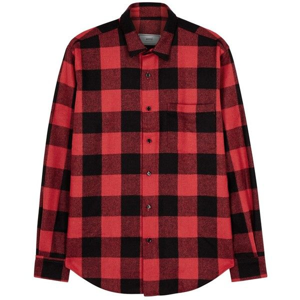 AMI Red Checked Wool Shirt - Size 44 ($295) ❤ liked on Polyvore featuring men's fashion, men's clothing, men's shirts, men's casual shirts, mens curved hem t shirt, mens red checkered shirt, mens checkered shirts and mens checked shirts