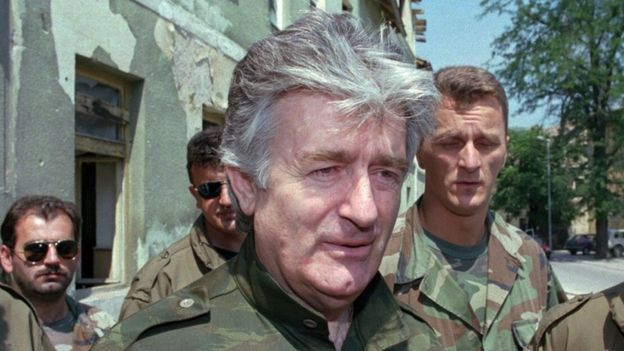 Radovan Karadzic in the Bosnian town of Jajce, August 1995