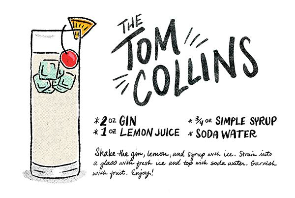 Classic Cocktail Recipes: The Tom Collins via Oh So Beautiful Paper: http://ohsobeautifulpaper.com/2014/04/friday-happy-hour-tom-collins/ | Illustration: Shauna Lynn for Oh So Beautiful Paper #cocktail #osbphappyhour