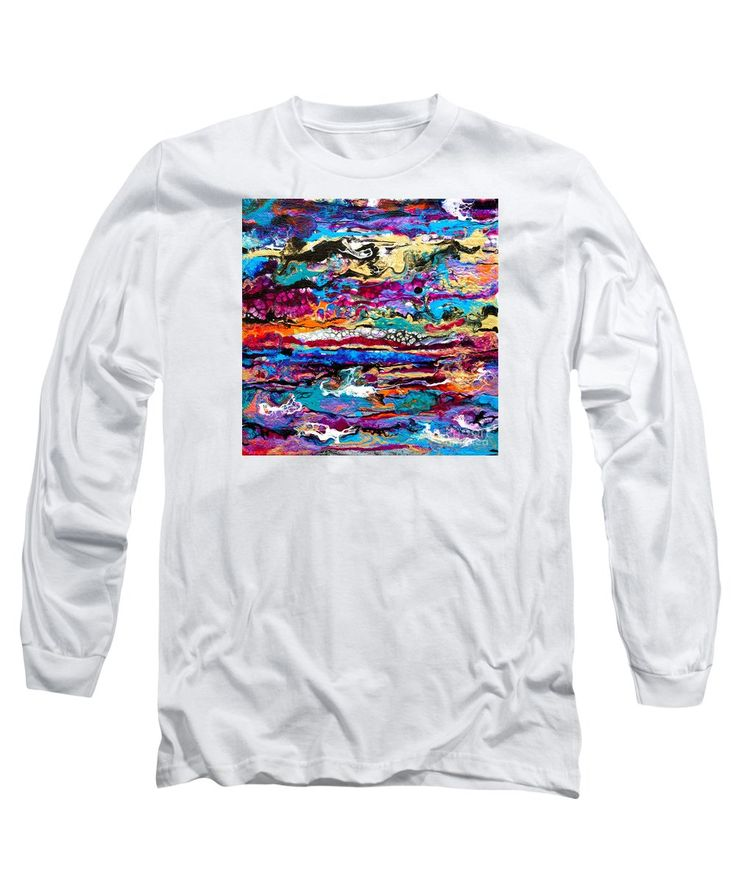 Original Fun Bright Vibrant Colorful Stripes Dynamic Pattern Happy Colors Dynamic Contemporary Fluid Acrylic Painting Long Sleeve T-Shirt featuring the painting #521 Bright Swipe by Expressionistart studio Priscilla Batzell
