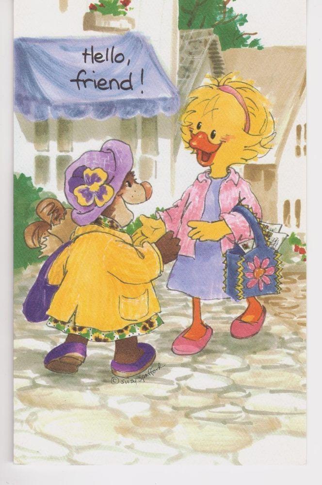 Suzy's Zoo Greeting Card Lizzie Ducken Missing Friend Martha Marmot ...