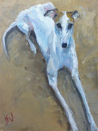 """Daily Paintworks - """"Italian Greyhound"""" - Original Fine Art for Sale - © H.F. Wallen"""