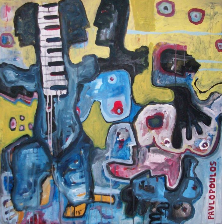 """ARTFINDER: Piano Bar by dimitris pavlopoulos - Acrylic Abstract Painting, Original artwork created by dimitris pavlopoulos. Size: width:31 """" (80cm) x Height: 31"""" (80cm) depp: 1.57'' (4cm)   You will re..."""