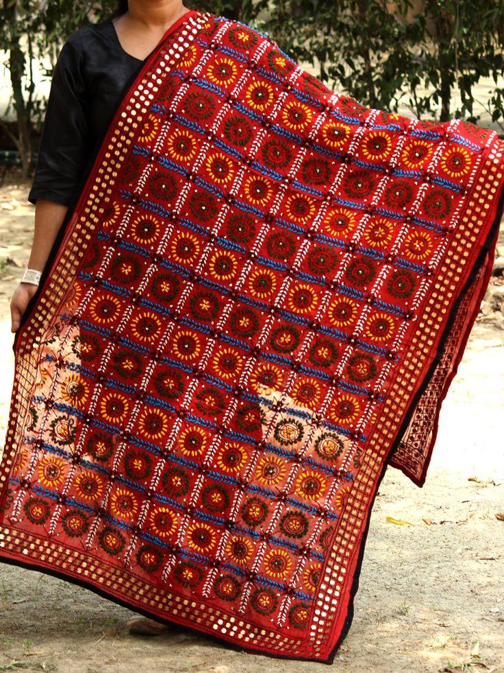 Handembroidered phulkari red dupatta