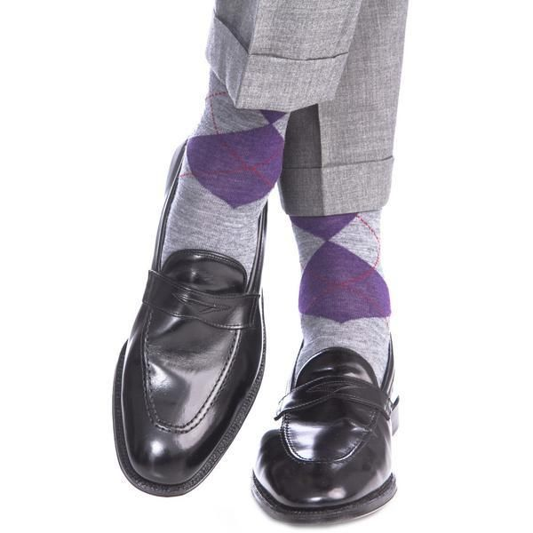 Gray with Purple and Red Argyle Fine Merino Wool Sock Linked Toe OTC