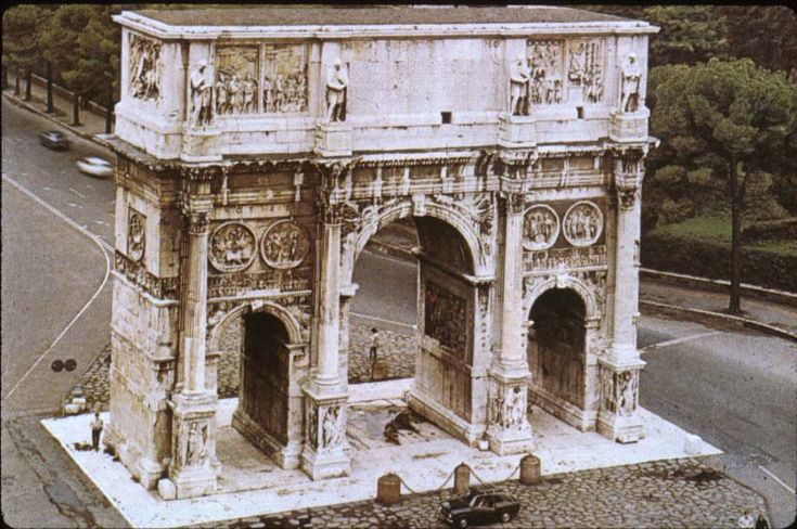 The Arch of Constantine (Arco di Costantino) is a triumphal arch in Rome, situated between the Colosseum and the Palatine Hill. Arch of Constantine was to commemorate Constantine I's victory over Maxentius at the Battle of Milvian Bridge on October 28, 312.