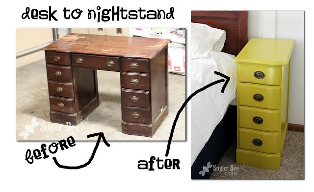 How to turn an old desk into a nightstand: Old Desks, Side Tables, Nightstand, Night Stands, Furniture, Repurpo, Great Ideas, Diy, Bees Crafts