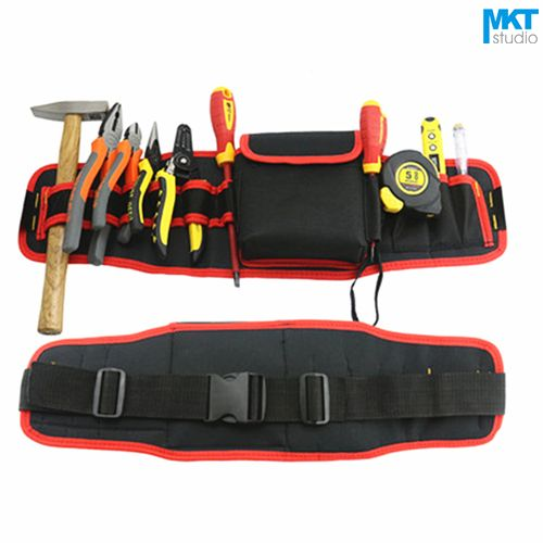 1Pcs Red Edge 56x16cm Oxford Cloth Durable Waterproof Tools Container Storage Waist Bag With Belt,Electrical Tools Bag