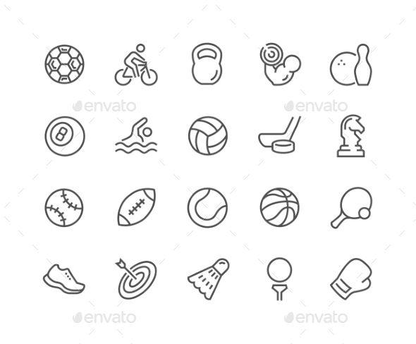 Line Sport Equipment Icons