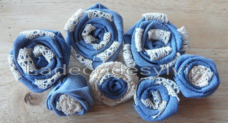 Fleurs en jeans et dentelle ivoire http://Ladecodesylvie.fr #mariage #wedding #bleu #blanc #mariage #bouquet #mariée #fleurs #flowers