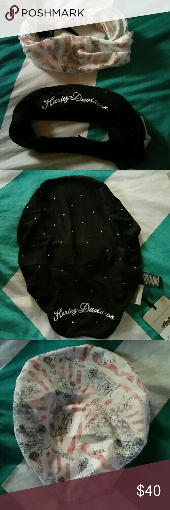 Harley Davidson headwraps 2 brand new witg tags never used harley davidson headwraps. One is black with rhinestones that says harley davidson. The other is red white and blue says harley davidson also with skulls. Both are one size fits all. Can be worn as a headband or bandana style. Harley-Davidson Accessories Hair Accessories